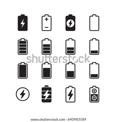 Electric Battery Accumulator Energy Icons Set Stock Illustration