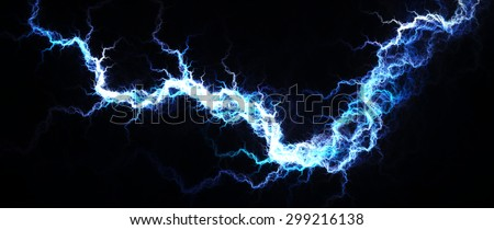 Electric Blue - Digital fractal of hot blue lightning, electrical background. - stock photo