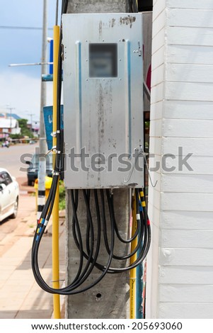 Electric box on pole - stock photo