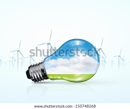 Electric bulb and windmill generators. Renewable energy concept