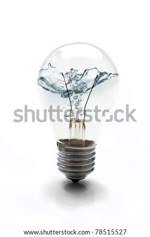 electric bulb filled with water - water energy concept