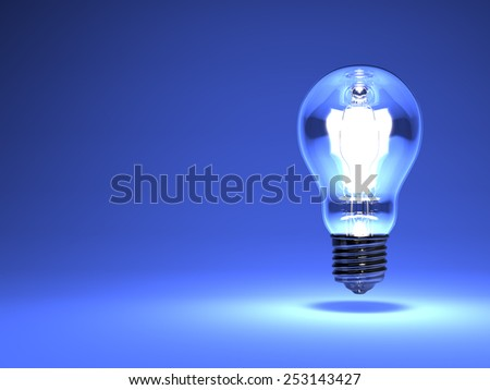 Electric Bulb On Blue Text Space. 3D render illustration. Isolated on Blue Text Space.