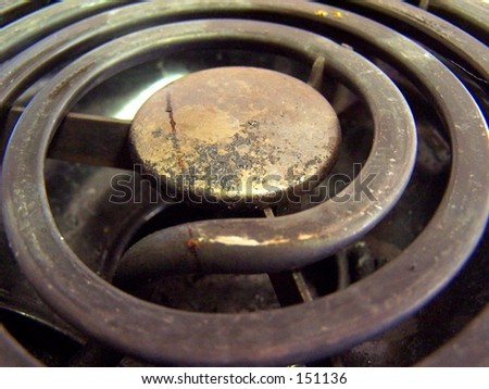 electric burner on stove, macro - stock photo