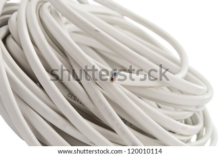 electric cable isolated on white background - stock photo