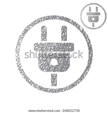 Electric cable plug input simple single color icon isolated on white background with sketch lined hand drawn texture. - stock photo