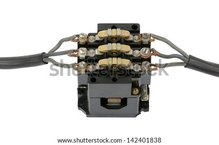 Electric cable with a switch - stock photo