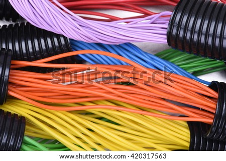 Electric cables in corrugated plastic pipes