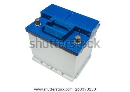 electric car battery on a white background - stock photo