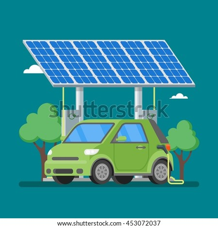 Electric car charging at the charger station in front of the solar panels. Illustration in flat style. Eco transport concept background.