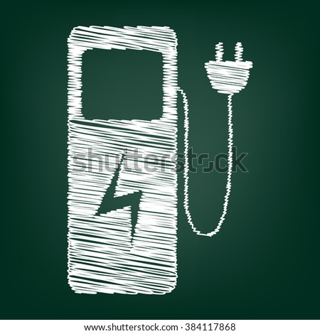 Electric car charging station sign. Flat style icon with chalk effect - stock photo