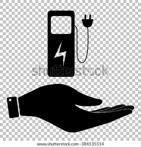 Electric car charging station sign. Save or protect symbol by hand - stock photo