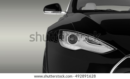 Electric Car Close-up 3D Rendering