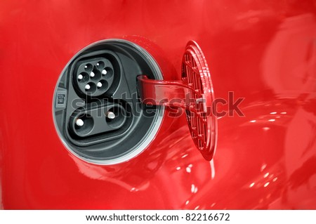 Electric car fuel socket - stock photo