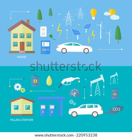 Electric cars and petrol car. Ecology concept CO2. Electro car with sun energy in flat style. Raster version - stock photo