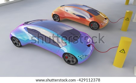 Electric Cars Charging At The Charger Station, Eco car, Electric  transport, Future car 3d concept, Electric car 3d render, Electric car transport, Electric car concept.  - stock photo