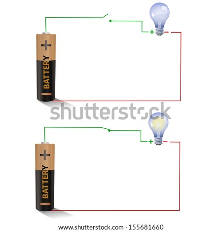 Electric circuit showing Open and Closed switches using a light bulb and battery - stock photo