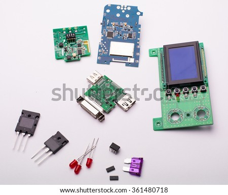 Electric components on white background - stock photo