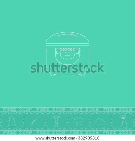 Electric Cooker. White outline flat icon and bonus symbol. Simple illustration pictogram on green background