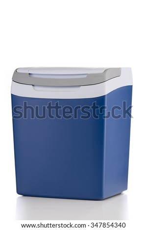 Electric cooler with closed top isolated on white background - stock photo