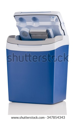 Electric cooler with open top isolated on white background