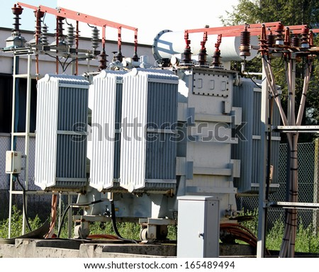 electric current transformer out of a hydro-electric power generation - stock photo