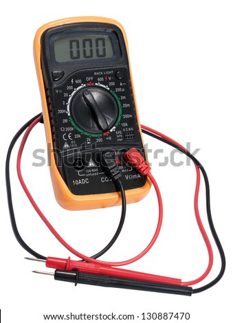 Electric digital tester. Device for measuring electric current isolated on white background. - stock photo