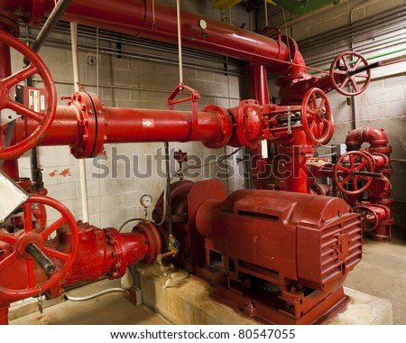 Electric driven fire pump for a high rise building - stock photo