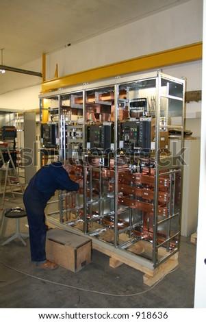 Electric enclosure installation - stock photo