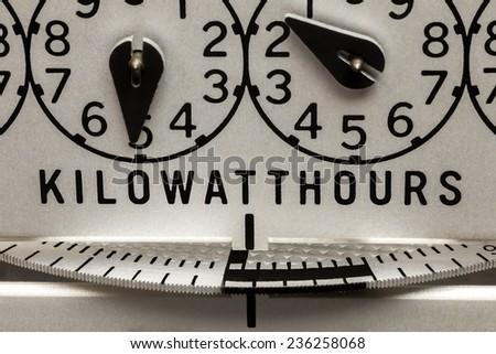 Electric energy kilowatt hour meter register and rotating disk - stock photo