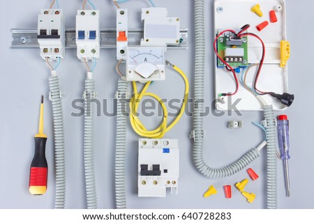 electric equipmentbox electrical devices wirestools stock photo rh shutterstock com Cable Crimper Tool Wire Twisting Tool