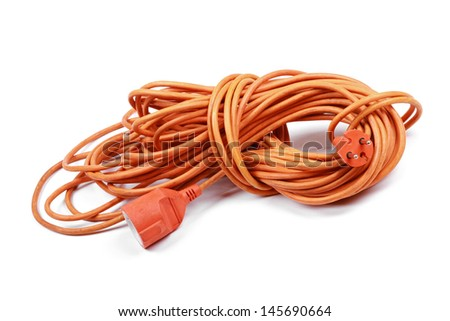 electric extension cord isolated on white background - stock photo