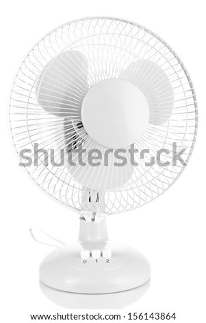 Electric fan isolated on white - stock photo