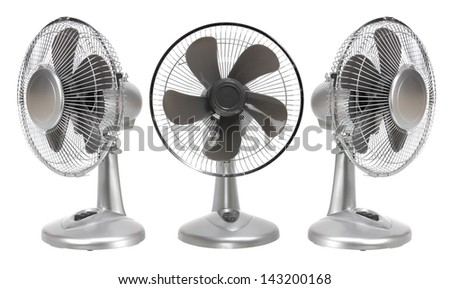Electric Fans on White Background - stock photo