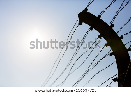 Electric fence in Auschwitz I, a former Nazi extermination camp in Oswiecim, Poland. It was the biggest nazi concentration camp in Europe.