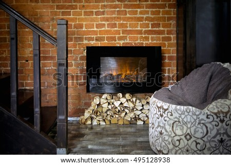 Electric fireplace in the living room
