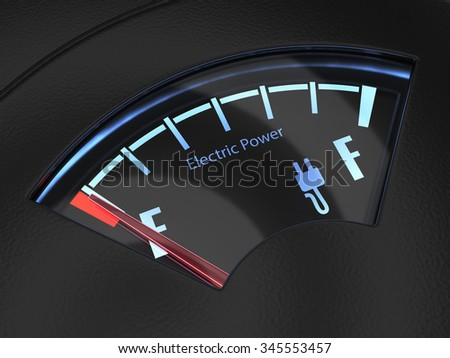 Electric fuel gauge with the needle indicating an empty battery charge. Eco fuel concept