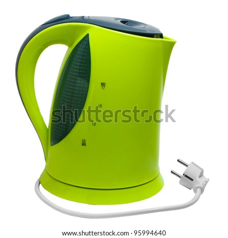 electric green tea kettle isolated on white background with clipping path - stock photo