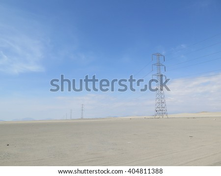 Electric grid lines in desert