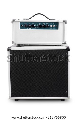 Electric guitar amplifier, isolated on white background - stock photo