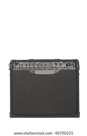 Electric guitar amplifier isolated on white background - stock photo