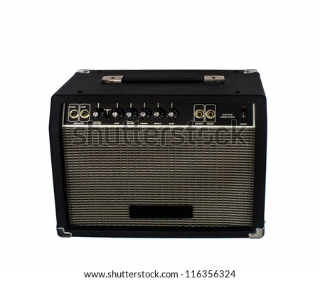Electric guitar amplifier on isolated - stock photo