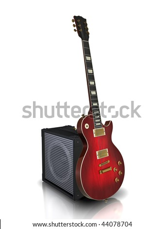 Electric guitar and guitar amplifier. Made in 3d