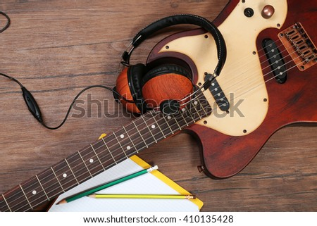 classic electric guitar music headphones on stock photo 236639023 shutterstock. Black Bedroom Furniture Sets. Home Design Ideas