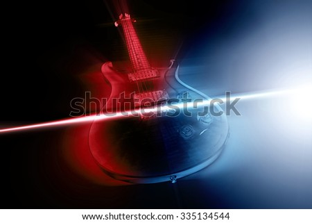 Electric guitar and ray of light concept - stock photo