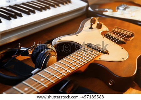 Electric guitar and synthesizer closeup