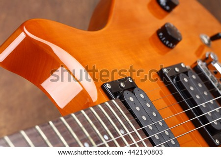 electric guitar close up, shallow dof