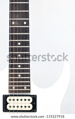 Electric guitar fingerboard with dot inlay - stock photo