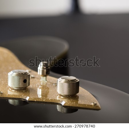 Electric guitar golden detail  - stock photo