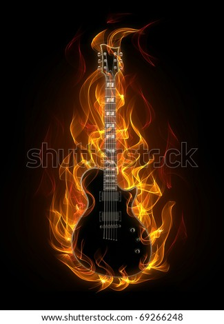 Electric guitar in fire and flames - stock photo