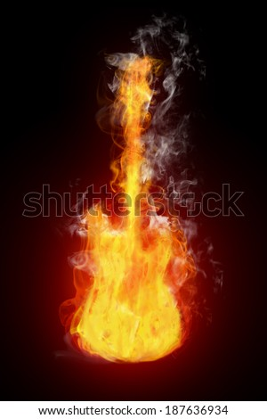 electric guitar in flames on black background - stock photo
